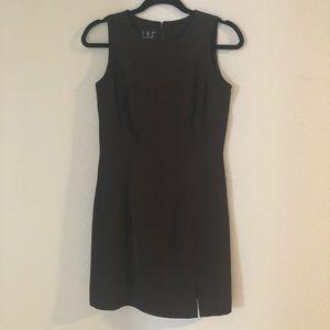 Brown slip dress with front slit